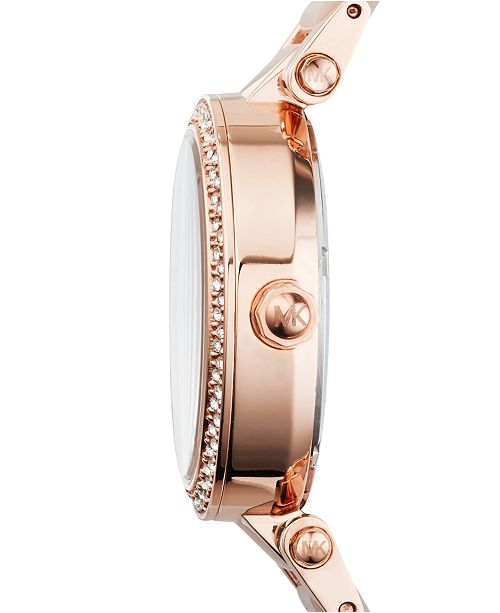 1bee555443a6 ... Michael Kors Women s Chronograph Mini Parker Blush and Rose Gold-Tone  Stainless Steel Bracelet Watch ...