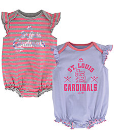 Majestic Newborn Baby St. Louis Cardinals Team Sparkle Set of 2 Creepers, (0-9 months)