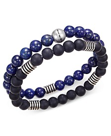 Men's 2-Pc. Stainless Steel Stretch Bead Bracelet Set