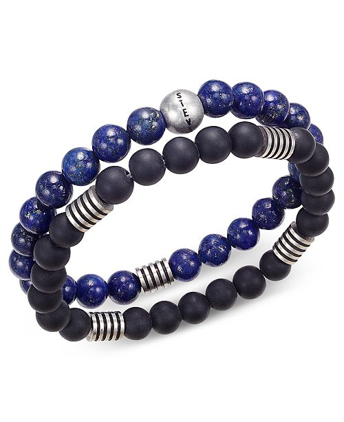 Steve Madden Men's 2-Pc. Stainless Steel Stretch Bead Bracelet Set
