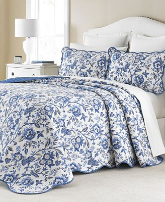 CLOSEOUT! Martha Stewart Collection Delft Meadow Reversible ... : macys bedding quilts - Adamdwight.com