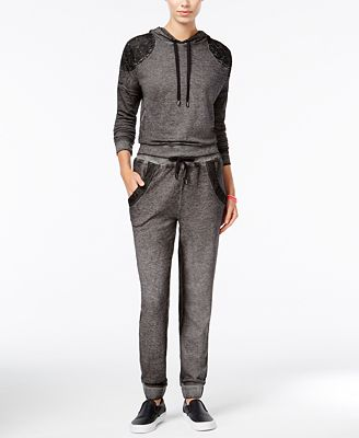 Material Girl Active Juniors' Lace-Trim Hoodie & Sweatpants, Only at Macy's