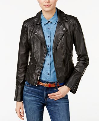 Tommy Hilfiger Faux-Leather Moto Jacket, Only at Macy's