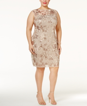 1920s Plus Size Dresses Adrianna Papell Plus Size Sequined Illusion Dress $124.99 AT vintagedancer.com