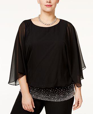 Msk Plus Size Embellished Chiffon Blouse Tops Women Macy S