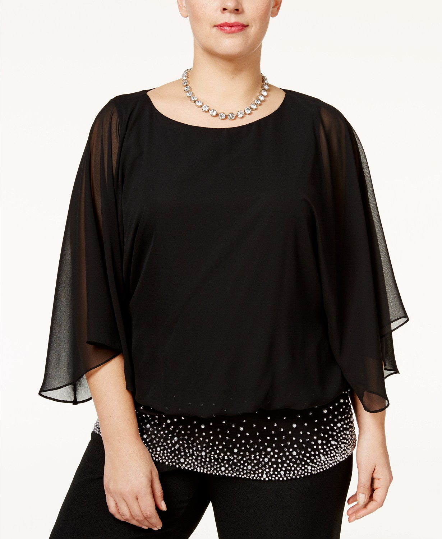 Plus Size Embellished Chiffon Blouse
