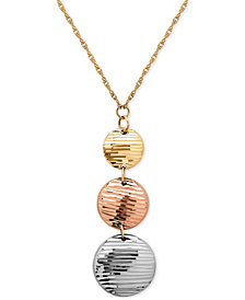 Tri-Tone Beaded Pendant Necklace in 14k White, Yellow and Rose Gold