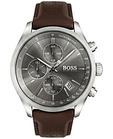Hugo Boss Men's Chronograph Grand Prix Brown Leather Strap Watch 44mm 1513476