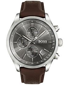 Hugo Boss Men's Chronograph Grand Prix Brown Leather Strap Watch 44mm 1513476