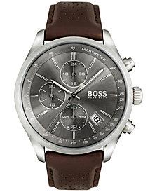 BOSS Hugo Boss Men's Chronograph Grand Prix Brown Leather Strap Watch 44mm 1513476