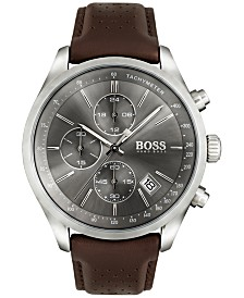 BOSS Hugo Boss Men's Chronograph Grand Prix Brown Leather Strap Watch 44mm 1513476
