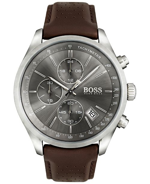 Hugo Boss Men S Chronograph Grand Prix Brown Leather Strap Watch 44mm 1513476
