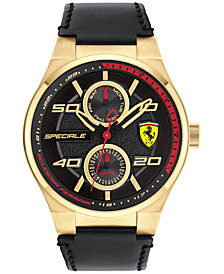 Ferrari Men's Speciale Multi Black Leather Strap Watch 44mm 0830417