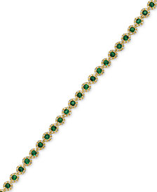 EFFY® Brasilica Emerald (3-1/4 ct. t.w.) and Diamond (1 ct. t.w.) Tennis Bracelet in 14k Gold, Created for Macy's