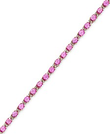 EFFY® Pink Sapphire (8-3/4 ct. t.w.) and Diamond (1/4 ct. t.w.) Tennis Bracelet in 14k Rose Gold, Created for Macy's