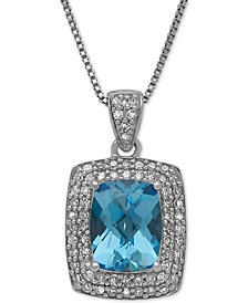 Swiss Blue Topaz (2-1/5 ct. t.w.) and Diamond (1/3 ct. t.w.) Pendant Necklace in Sterling Silver