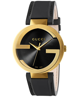 Gucci Men S Swiss Interlocking Black Leather Strap Watch