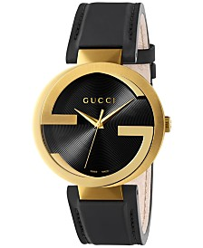 Gucci Men's Swiss Interlocking Black Leather Strap Watch 42mm YA133212