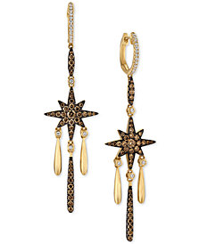 Le Vian Chocolatier® Diamond Star Dangle Drop Earrings (1-1/5 ct. t.w.) in 14k Gold