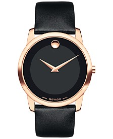Movado Men's Swiss Museum Black Leather Strap Watch 40mm 0607078, Created for Macy's