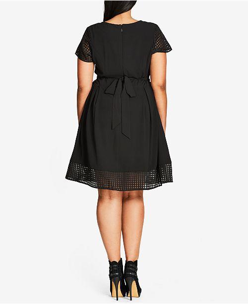 City Chic Trendy Plus Size Illusion Mesh Dress Dresses Plus