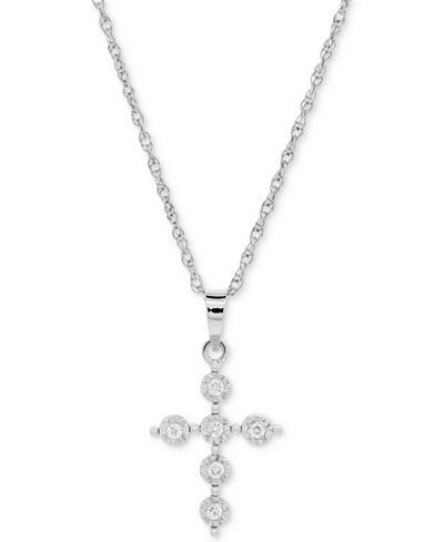 Diamond Accent Cross Pendant Necklace in Sterling Silver
