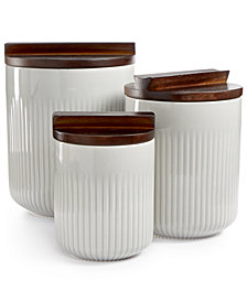 Hotel Collection Set of 3 Stone Gray Canisters with Wooden Lids, Created for Macy's