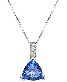 Tanzanite (3-1/2 ct. t.w.) and Diamond (1/10 ct. t.w.) Pendant Necklace in 14k White Gold