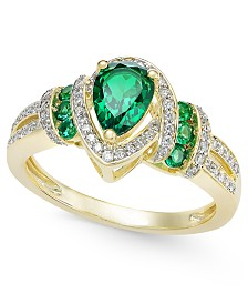 Certified Emerald (1 ct. t.w.) and Diamond (1/4 ct. t.w.) Ring in 14k Gold