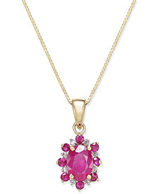 Ruby (1-1/4 ct. t.w.) and Diamond Accent Pendant Necklace in 14k Gold