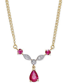 Ruby (1-1/5 ct. t.w.) and Diamond Accent Statement Necklace in 14k Gold