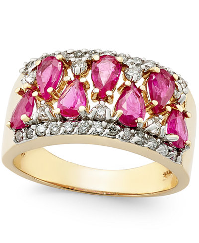 Ruby (2-1/10 ct. t.w.) and Diamond (3/8 ct. t.w.) Ring in 14k Gold