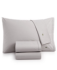 Lacoste Solid Cotton Percale Twin XL Sheet Set