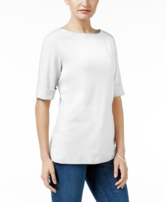 Image of Karen Scott Petite Elbow-Sleeve Cotton Boat-Neck Top, Created for Macy's