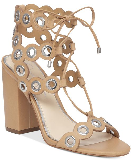 Jessica Simpson Kariss Strappy Embellished Block-Heel Sandals