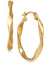 Polished Twist Hoop Earrings in 10k Gold