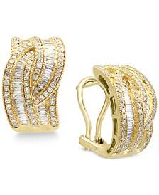 Classique by EFFY Diamond Interwoven Hoop Earrings (1-3/8 ct. t.w.) in 14k Gold & White Gold