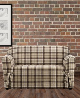 CLOSEOUT! Highland Plaid 1-Pc. Loveseat Slipcover