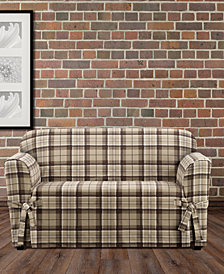 CLOSEOUT! Sure Fit Highland Plaid 1-Pc. Loveseat Slipcover