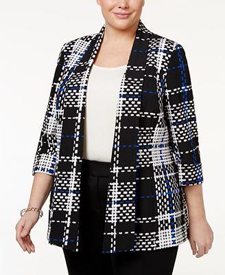 Kasper Plus Size Draped Plaid Jacket