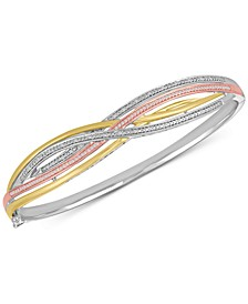 Diamond Weave Tri-Color Bangle Bracelet (1/4 ct. t.w.) in Sterling Silver and 14k Gold-Plate