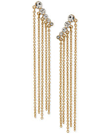 Trina Turk Gold-Tone Crystal Fringe Ear Climbers