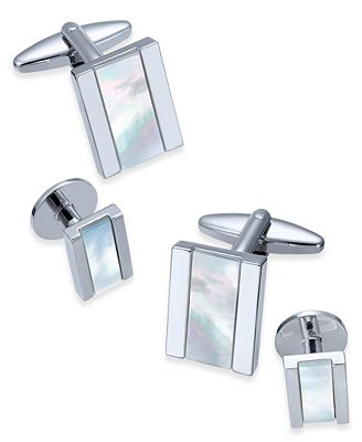 Sutton by Rhona Sutton Men's Stainless Steel Mother-of-Pearl Stone Cuff Links
