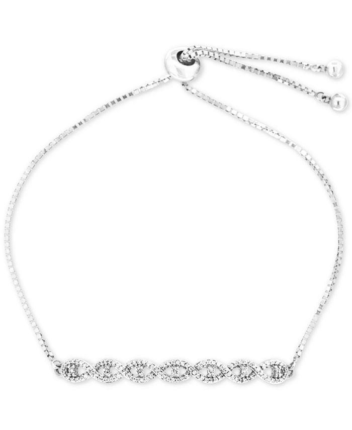 Wrapped - Diamond Twist Slider Bolo Bracelet (1/4 ct. t.w.) in Sterling Silver