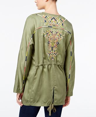Jessica Simpson Finn Draped EmbroideredBack Jacket