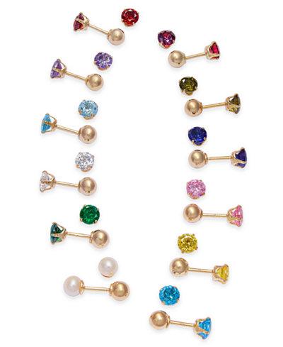 Children's Birthstone Reversible Stud Earrings in 14k Gold