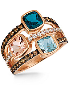Le Vian Chocolatier® Multi-Gemstone (2-1/4 ct. t.w.) and Diamond (5/8 ct. t.w.) Ring in 14k Rose Gold