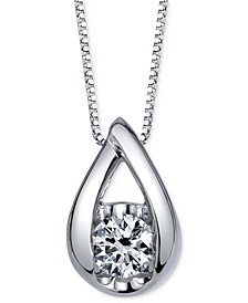 Diamond Teardrop Pendant Necklace (1/5 ct. t.w.) in 14k White Gold or Rose Gold