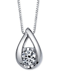 Sirena Diamond Teardrop Pendant Necklace (1/5 ct. t.w.) in 14k White Gold or Rose Gold