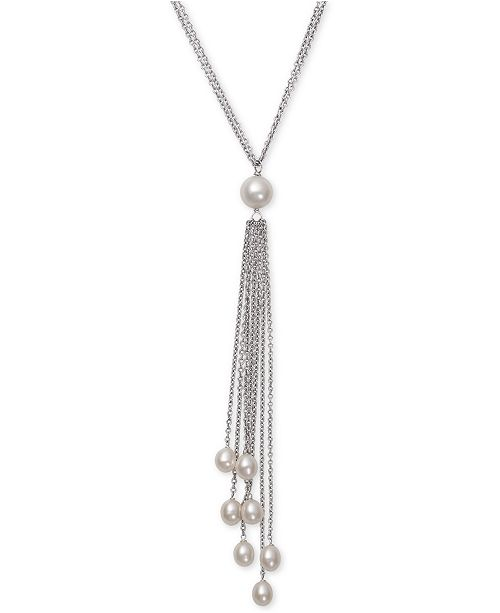 Belle de Mer Cultured Freshwater Pearl (6 & 8-1/2mm) Long Lariat Necklace in Sterling Silver
